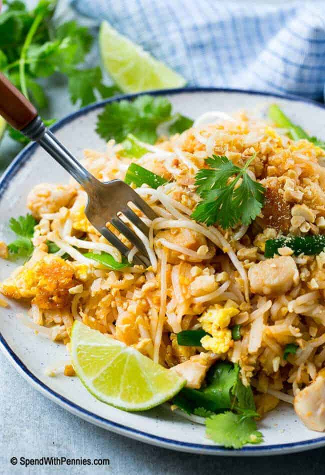 This chicken pad thai is just like the restaurant version, and it's ready in 20 minutes! Who needs take out when you can make your own at home?