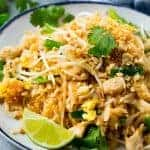 Chicken Pad Thai on a plate