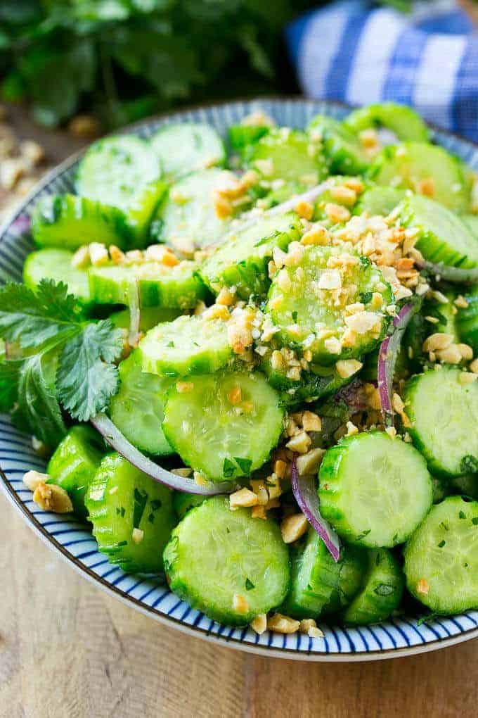 This refreshing Thai Cucumber Salad tastes just like the restaurant version and it only takes minutes to make!