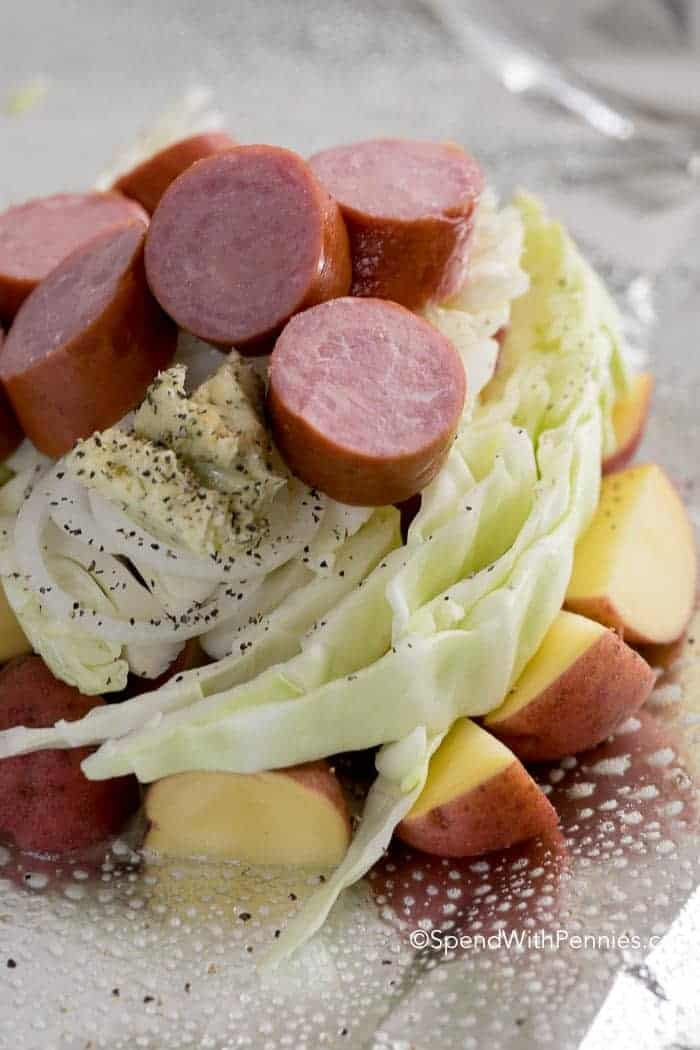 Cabbage and Sausage and potatoes on foil