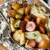 Cabbage and Sausage Foil Packs with fork