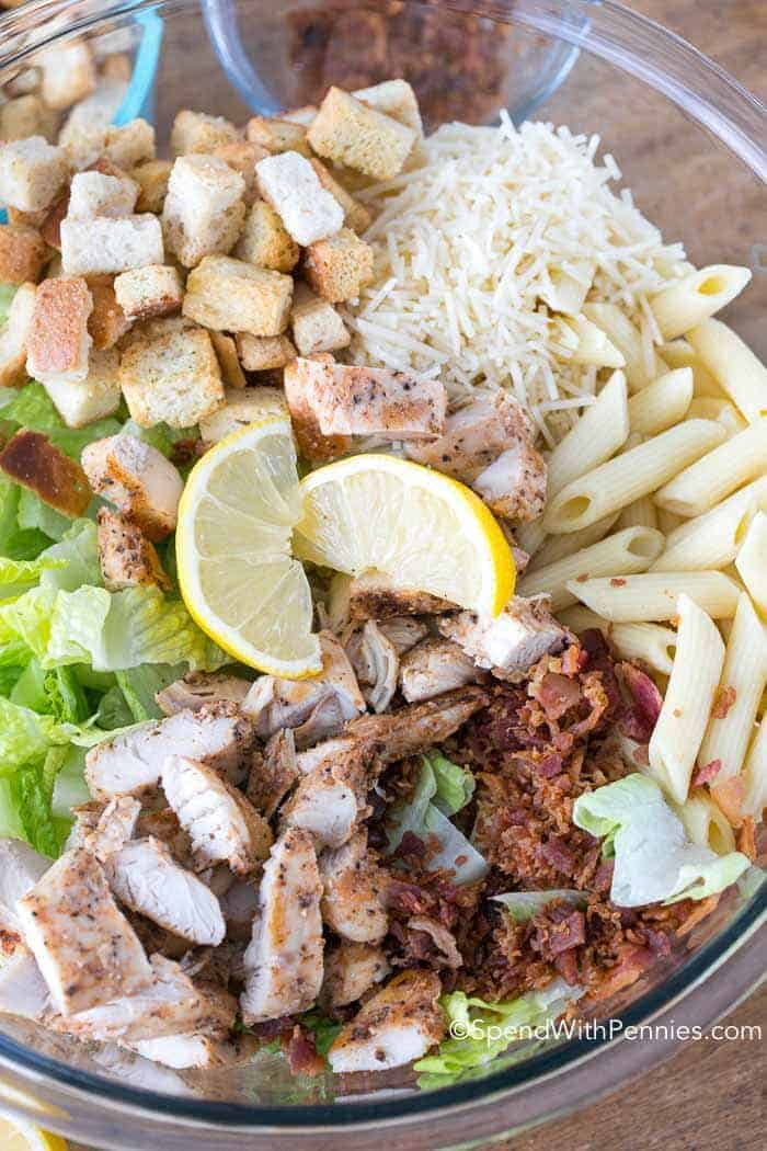 Chicken Caesar Pasta Salad has a blend of traditional Caesar Salad ingredients in a delicious homemade creamy garlic lemon dressing. This meal is both flavorful and filling. I love that can be made ahead of time and served on the hottest of days, offering relief from the heat of theoven!