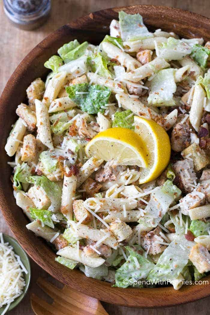 Chicken Caesar Pasta Salad is the perfect dish for summer. Loaded with traditional Caesar Salad ingredients in a creamy garlic lemon dressing this meal is both flavorful and filling. I love that can be made ahead of time and served on the hottest of days, offering relief from the heat of theoven!