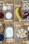 Collage picture of four different easy lunch ideas for kids