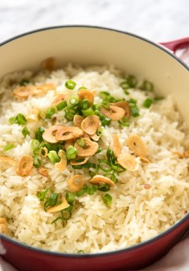 Garlic Butter Rice - Buttery, garlicky rice – a perfect side for any meal, and so good you can eat it plain!