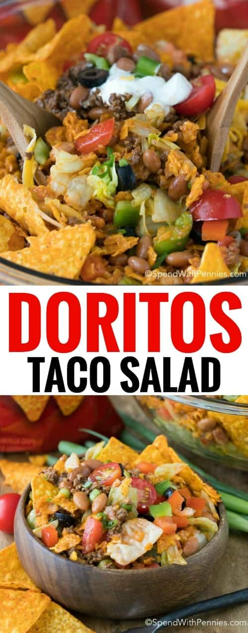 This is the best potluck dish, everyone raved about it! Dorito Taco Salad is loaded with seasoned ground beef, veggies, beans and of course Doritos in a zesty dressing!