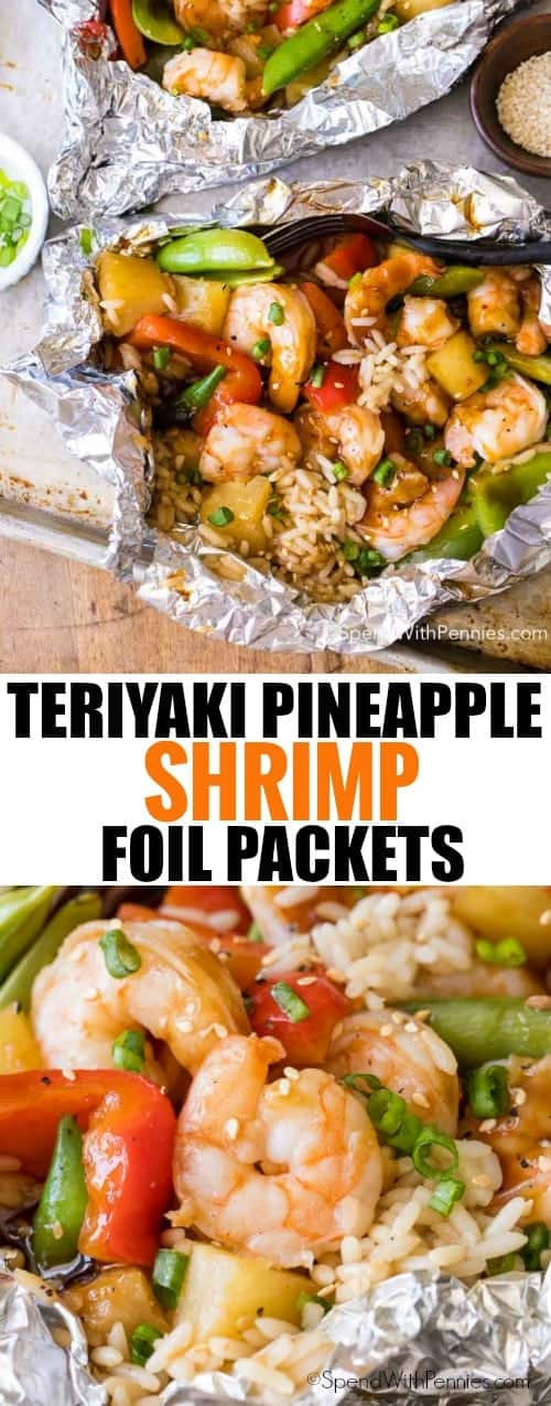 Pineapple Teriyaki Shrimp Foil Packets