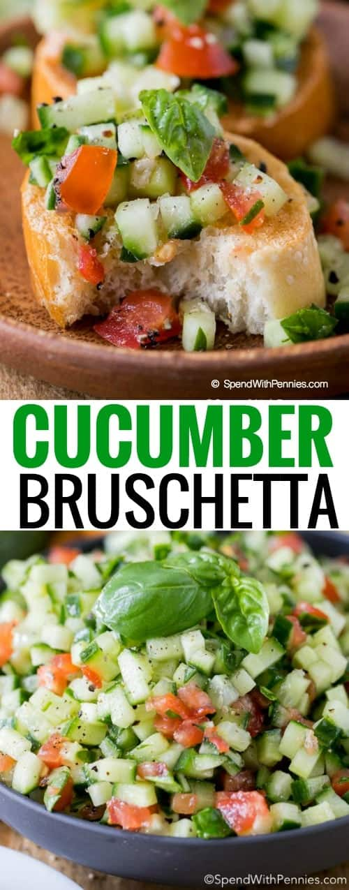 Cucumber Bruschetta in bowl and on bread
