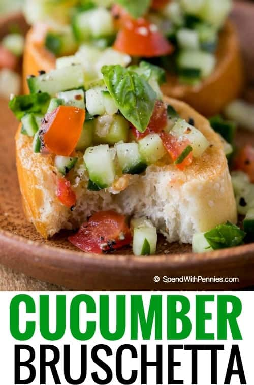 cucumber bruschetta on plate with text