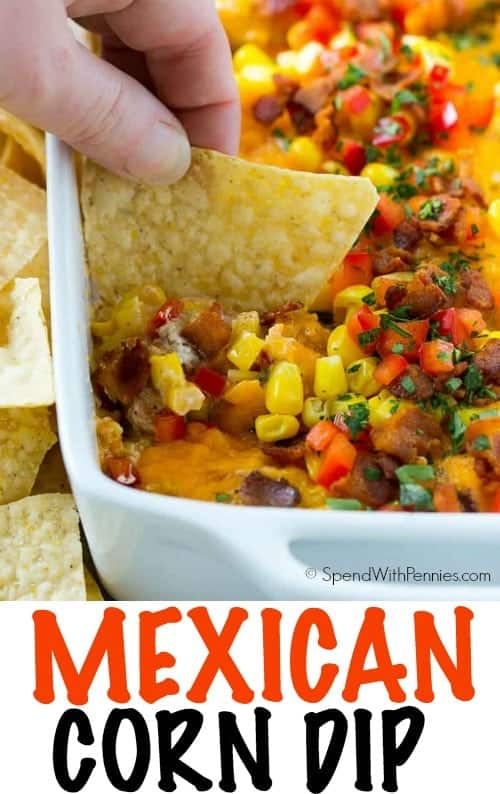 mexican corn dip with text