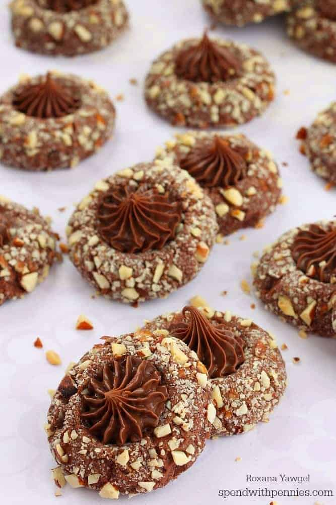 These chocolate hazelnut thumbprint cookies have chocolate cookie ...