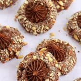 Several Chocolate Hazelnut Thumbprint Cookies