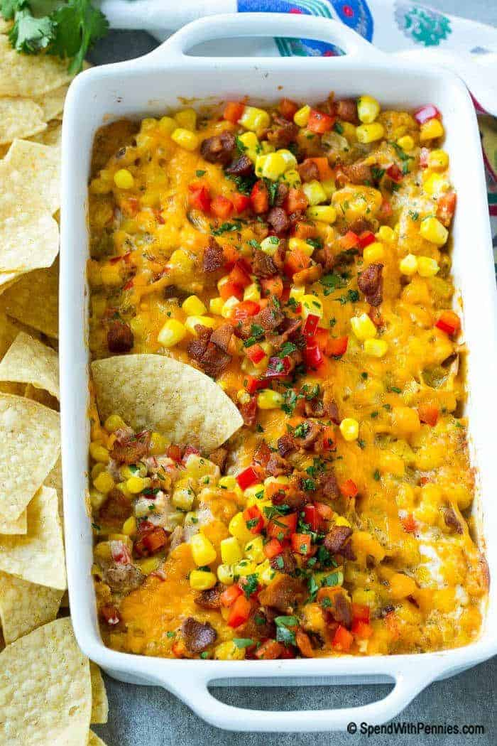 Mexican corn dip in dish