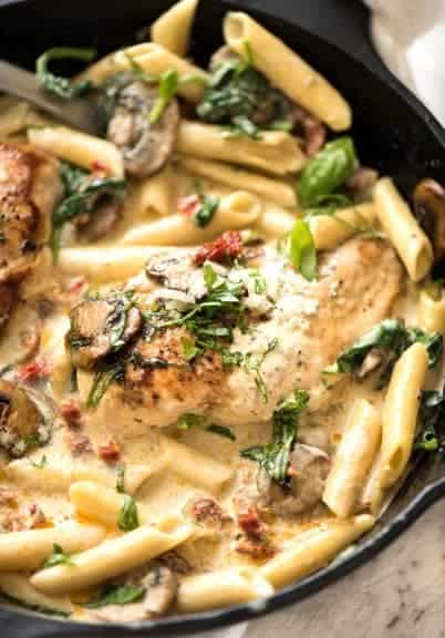 This Chicken with Creamy Sun Dried Tomato Sauce is a meal that comes together in just over 20 minutes that is a total crowd pleaser!