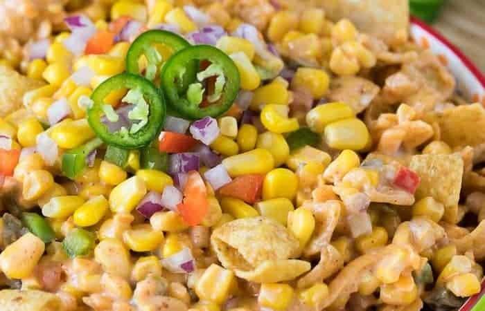 frito corn salad in green bowl