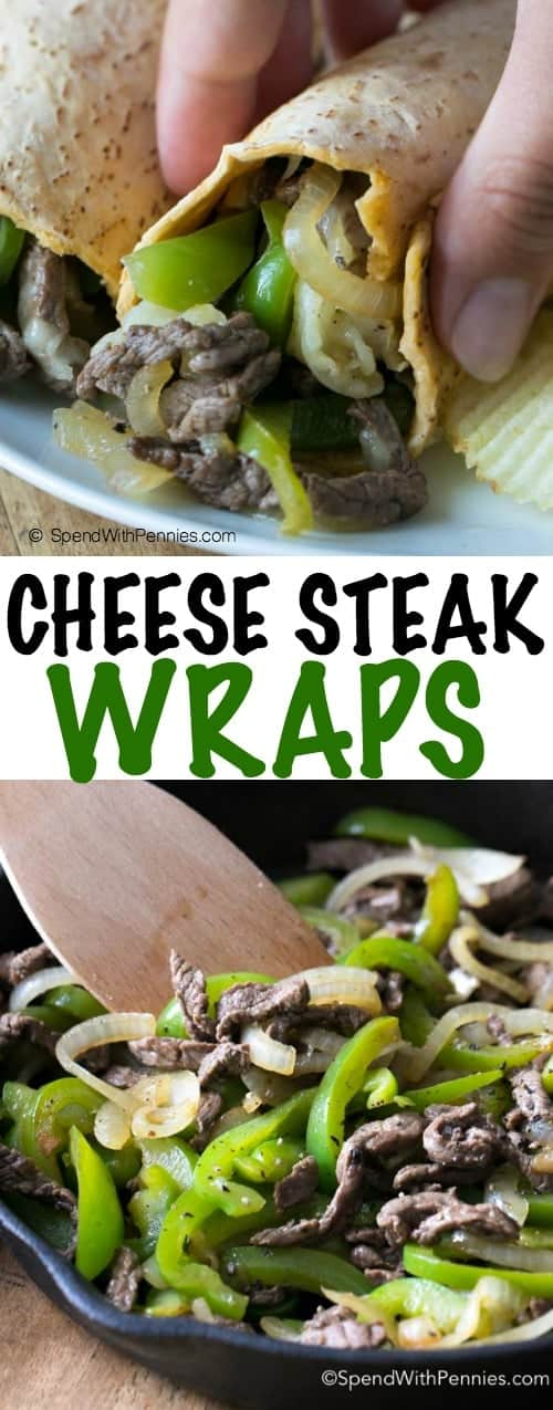 These delicious Philly Cheese Steak Wraps feature tender beef, caramelized onions and juicy green peppers all smothered with melted provolone cheese. This combination makes the best Philly Cheese Steaks you've ever tried and they'll be requested over and over again!