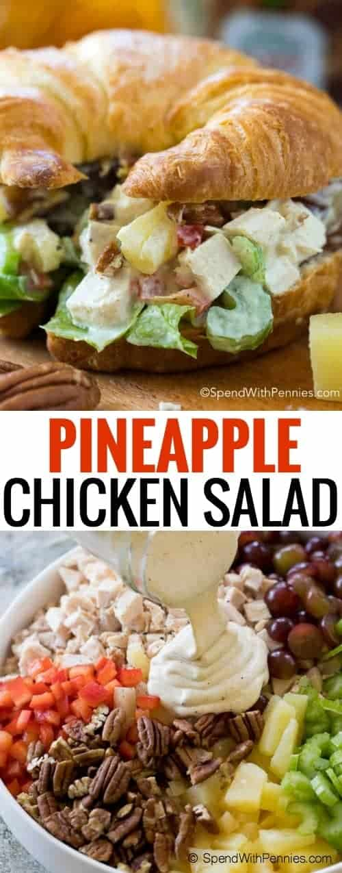 Easy Chicken Salad is the perfect simple and fresh meal idea for summer. A flavorful chicken salad with grapes, pineapple and nuts comes together quickly to create a wonderfully light meal that everyone will love! Serve this as a quick weeknight meal or make it ahead of time to enjoy for lunch throughout the week, it's the perfect addition to your dinner rotation!