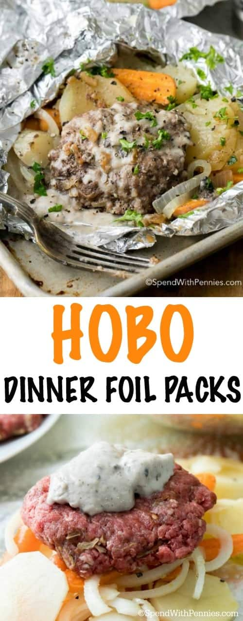 two pictures of hobo foil dinner packets
