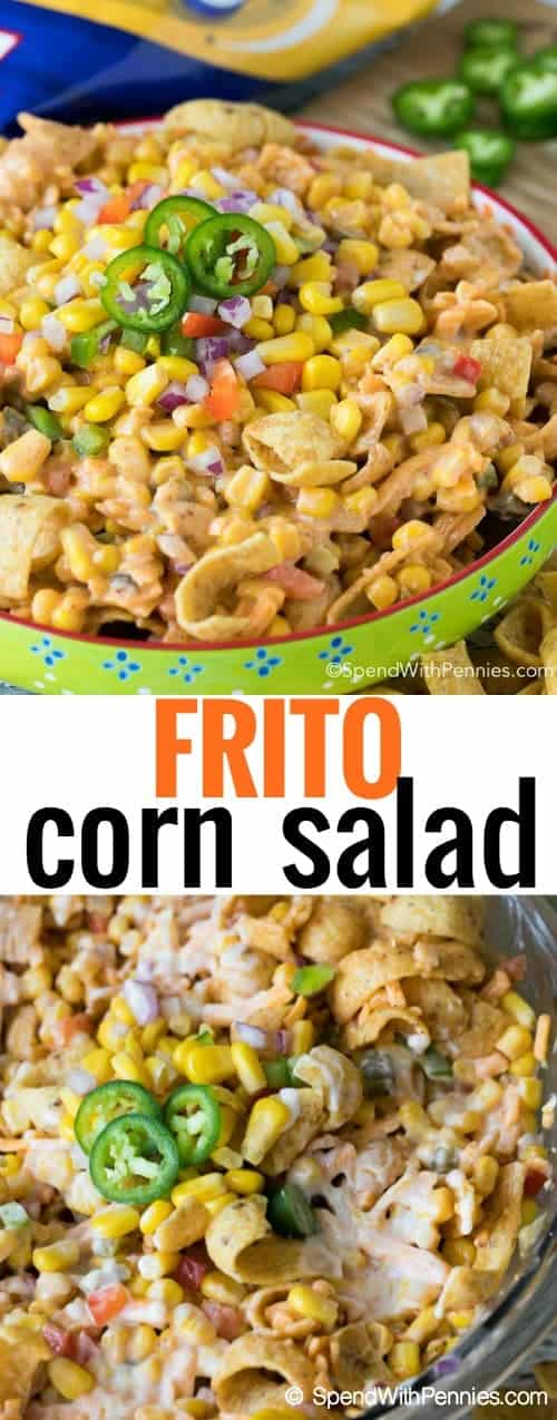 This was a HUGE hit at my potluck! Frito Corn Salad combines sweet juicy corn, fresh bell peppers, spicy jalapenos and of course crunchy Fritos all in a creamy dressing.  This is the perfect potluck side dish or appetizer dip!