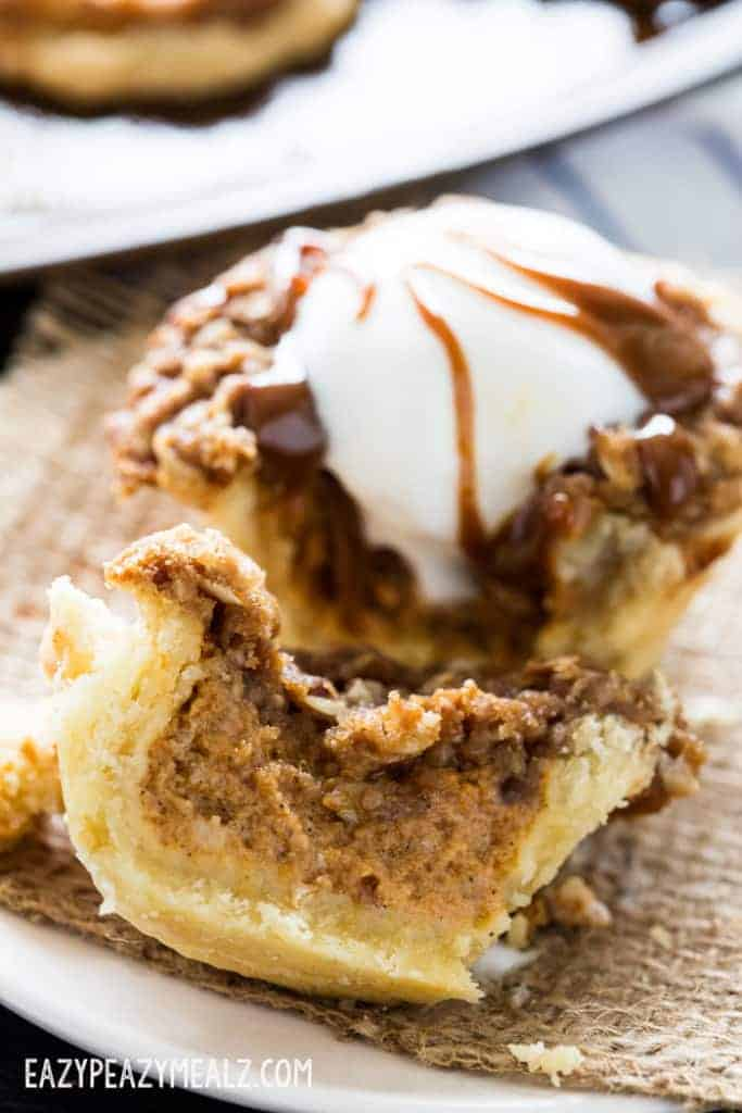 Muffin tin pumpkin pies with an oatmeal caramel crumble are not only small, cute, and totally delicious, but the perfect addition to your holiday traditions!