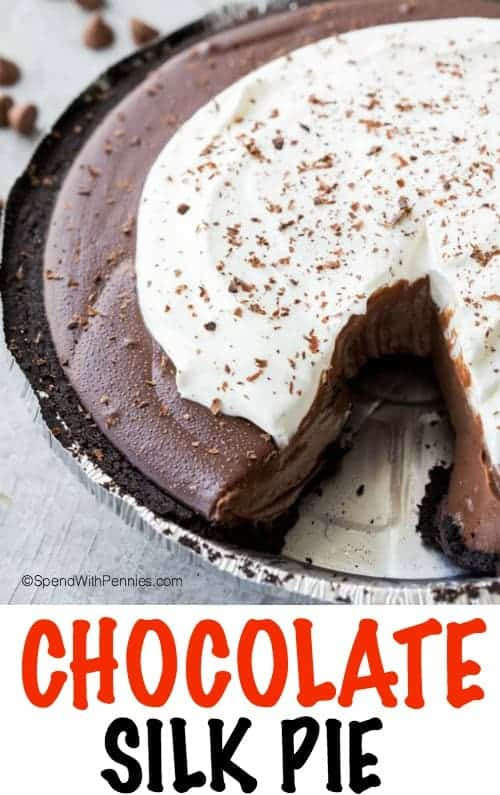 Chocolate Silk Pie is silky smooth, creamy, and delicious, in an Oreo crust, and topped with whipped cream and shaved chocolate! This pie is a crowd pleaser and very easy to make.
