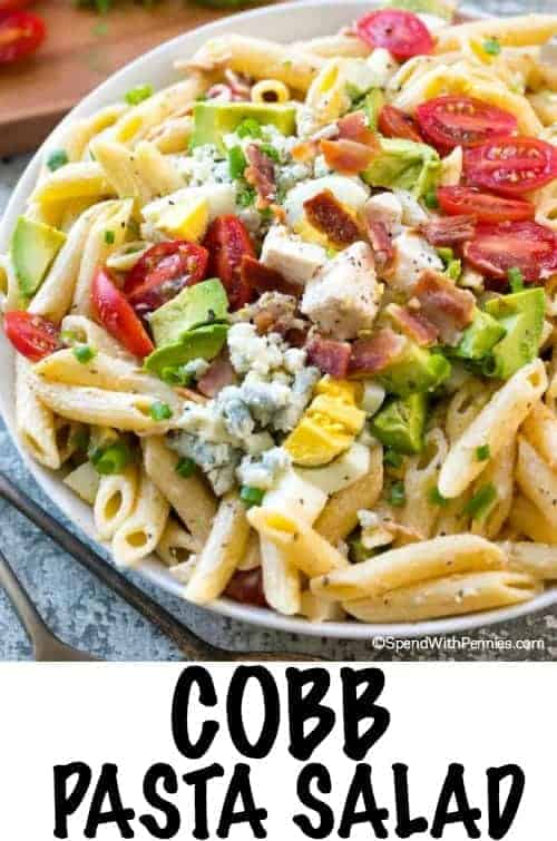 Cobb Pasta Salad is the perfect summer meal alongside a cold refreshing glass of iced tea! Loaded with juicy tomatoes, crisp bacon, avocados and cheese, this pasta salad can save the day at dinner time or be the stardish atany picnic or potluck spread!