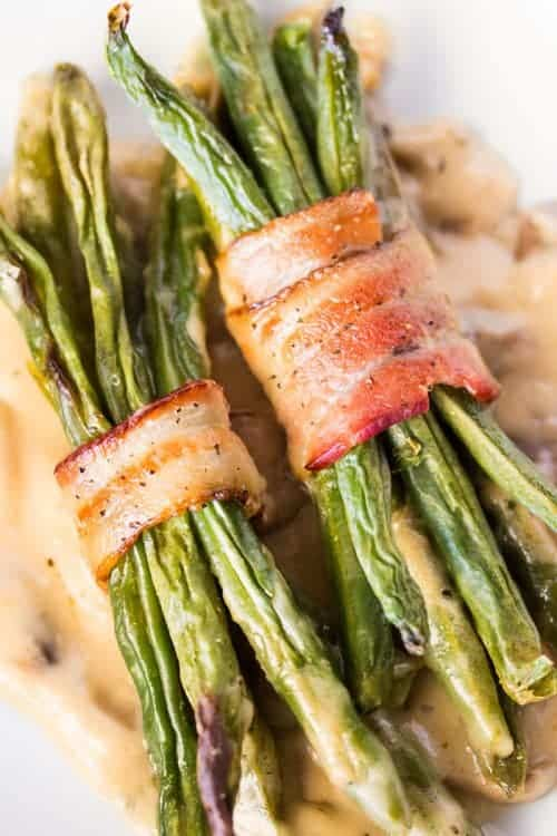 Bacon wrapped green bean bundles are the perfect side dish