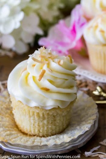 Coconut cupcake unwrapped