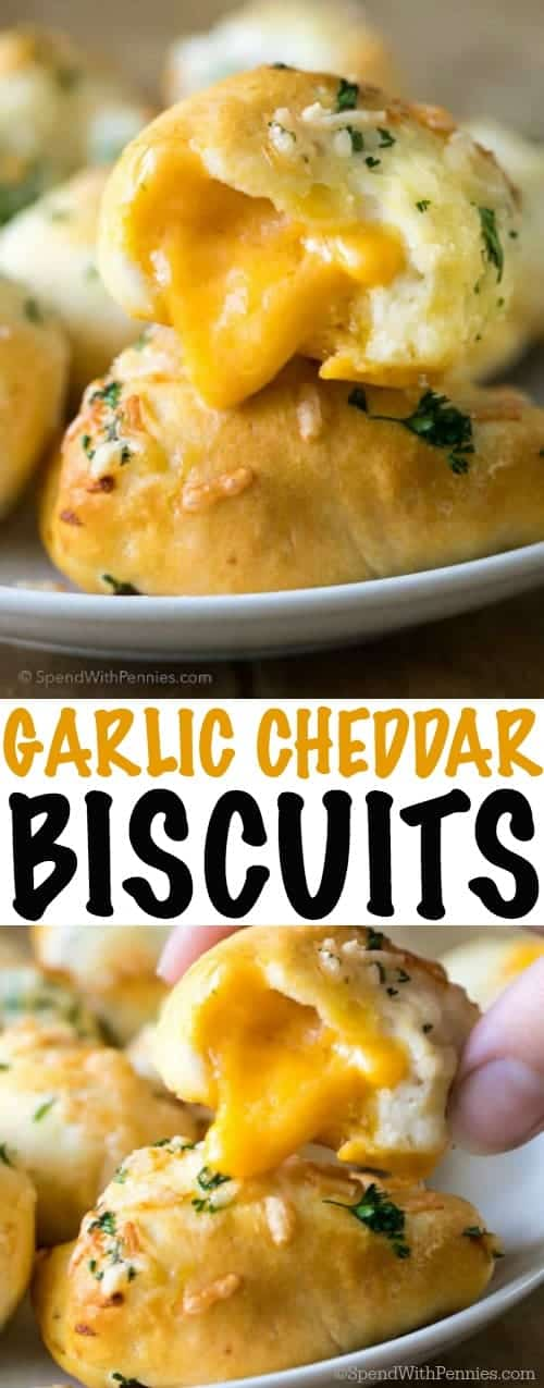 Garlic Cheddar Biscuits are the perfect side to any meal from spaghetti to fried chicken. As much as I love a good biscuit, adding cheese and garlic takes these from regular ol'  biscuits into crazy good garlic cheese bombs, a side that will truly be the star of your meal!