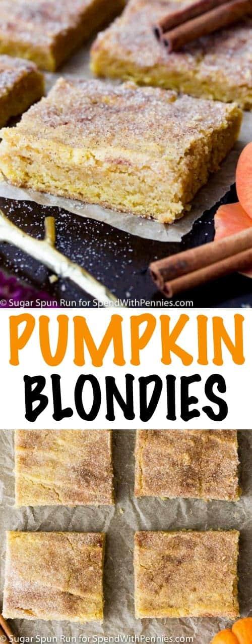 Pumpkin Blondies with a title