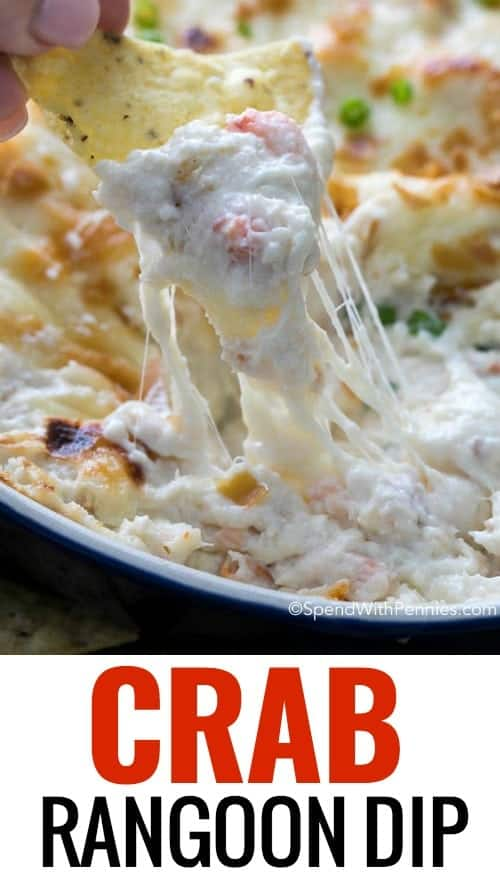 Crab Rangoon dip is one of our favorite appetizers and a party go to! Hot, creamy, cheesy and loaded with crab this dip is perfect served with fried wonton chips, tortilla chips or crackers for dipping!