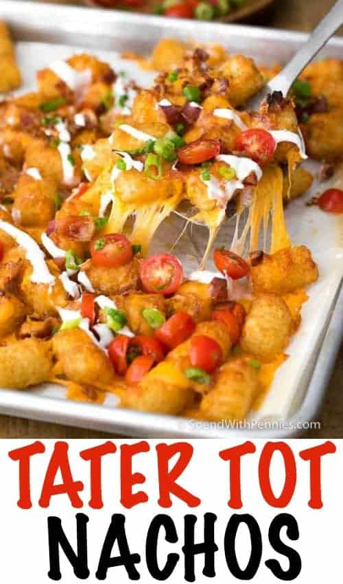 Tater Tot Nachos have crispy Tater Tots smothered in melted cheddar cheese and bacon.  This delicious snack, inspired by a dish at one of my all time favorite restaurants, takes just minutes to prepare and everyone LOVES it.