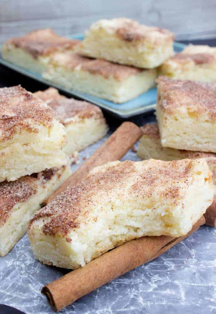 Even better than the cookies, these Snickerdoodle Blondies are buttery, soft, and with a classic signature tang, these cinnamon-sugar coated blondies may be the best way to eat Snickerdoodles yet.
