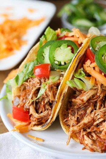 Plate with two Instant Pot Chicken Tacos