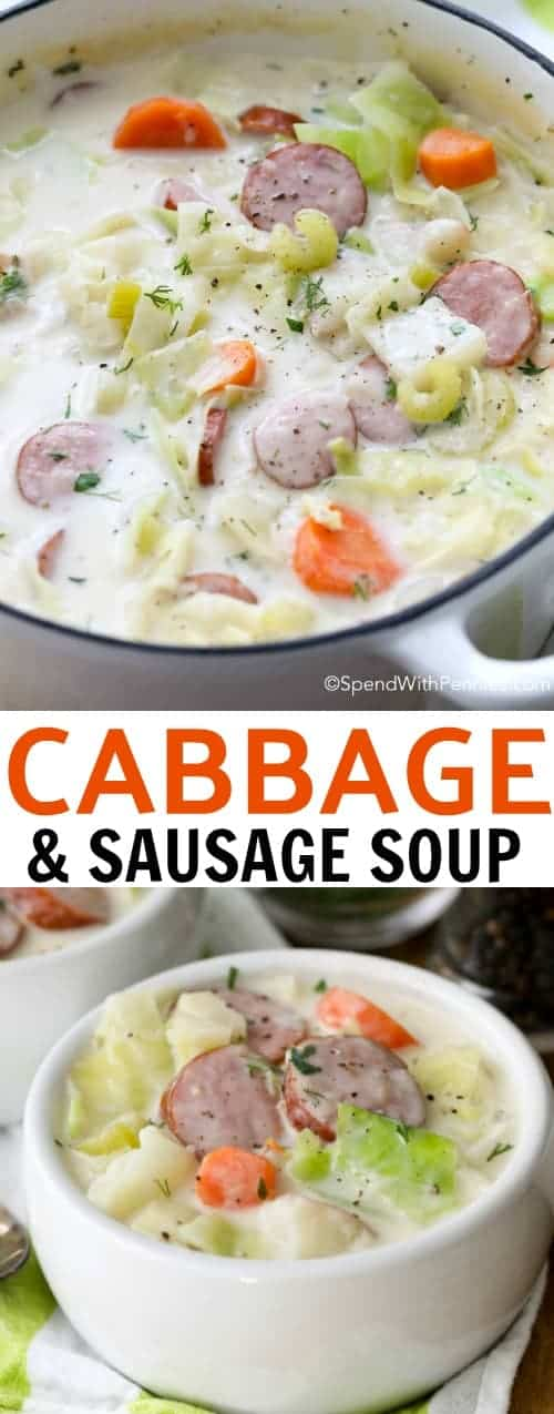 cabbage and sausage soup with text in bowls