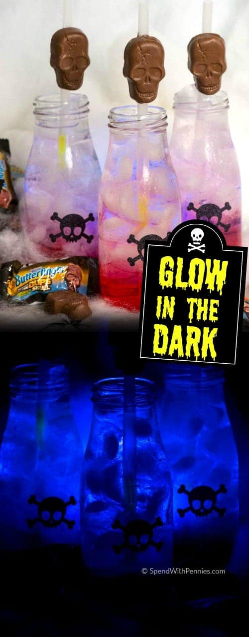 Spooky glow in the dark drinks are the perfect addition to your fall festivities this year!  They're easy to make and all of the little ghouls in your life will love them!