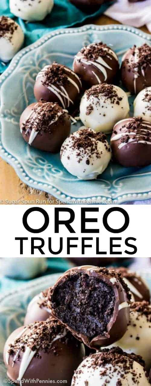 Sprinkled with cookie crumbs and coated in dark and white chocolate shells, these Oreo Truffles take minutes to make and use only five ingredients! Always a great crowd pleaser! #spendwithpennies #dessert #5ingredients #easyrecipe #chocolate #truffles #oreo