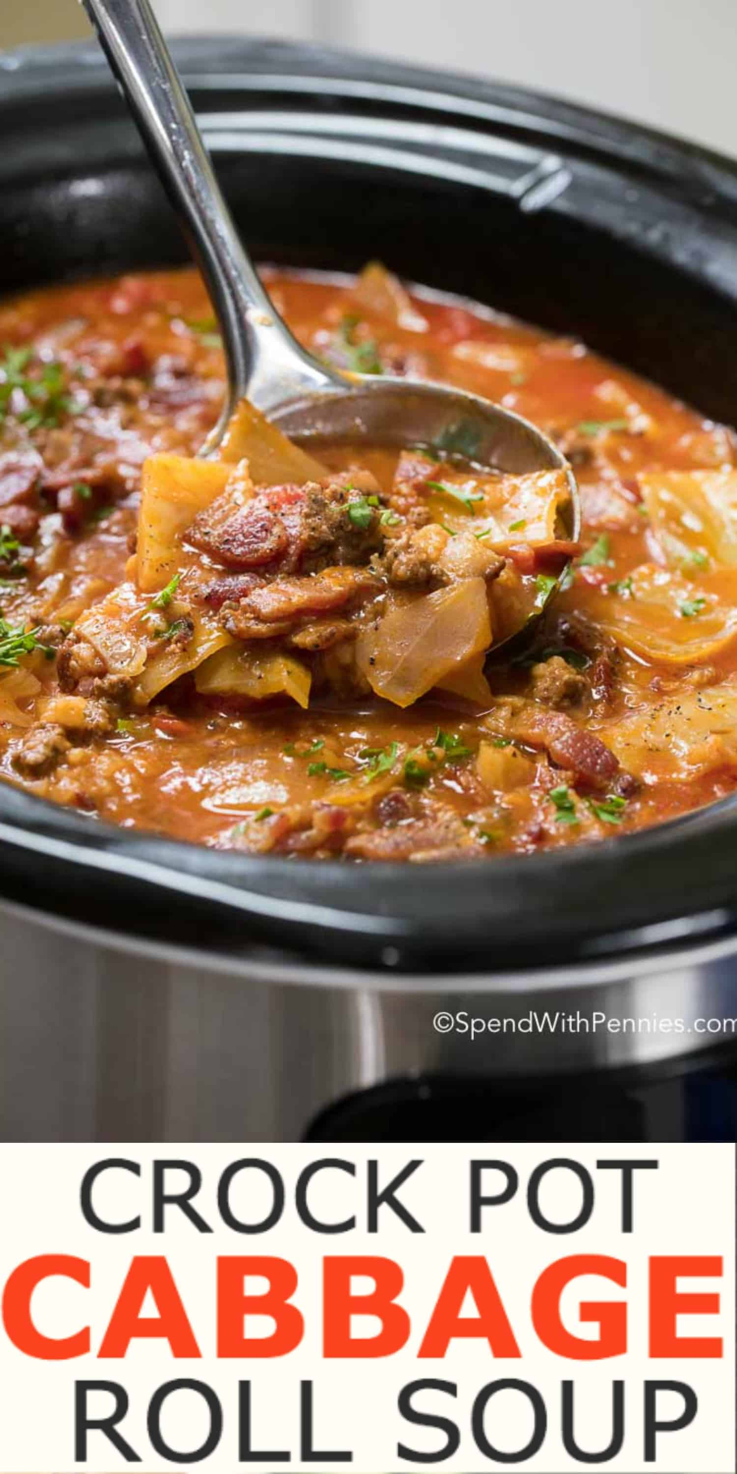 Crock Pot Cabbage Roll Soup is a simple twist on traditional Cabbage Rolls, a family favorite for years! Cabbage, onion, beef and bacon all tenderly prepared in a rich beef and tomato broth, simmered all day in the slow cooker. This creates a nutritious and tasty soup that will warm your belly from the inside out! #spendwithpennies #soup #cabbagerolls #easyrecipe #cabbage #heartymeal #crockpot