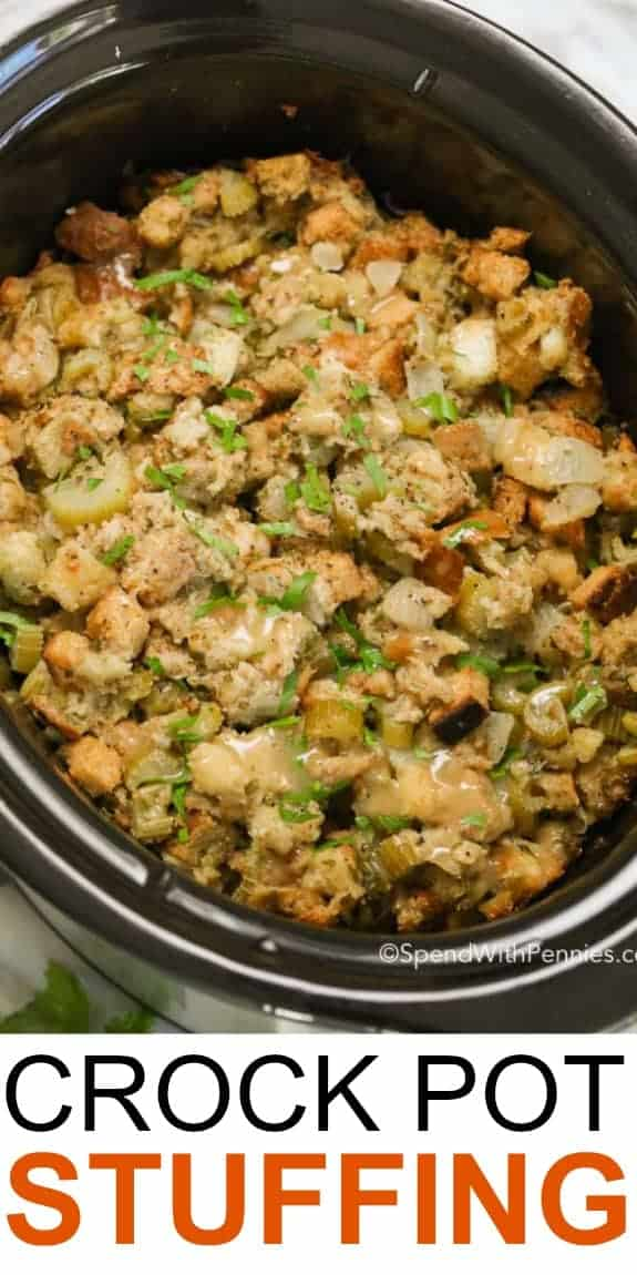 picture of crockpot stuffing with text