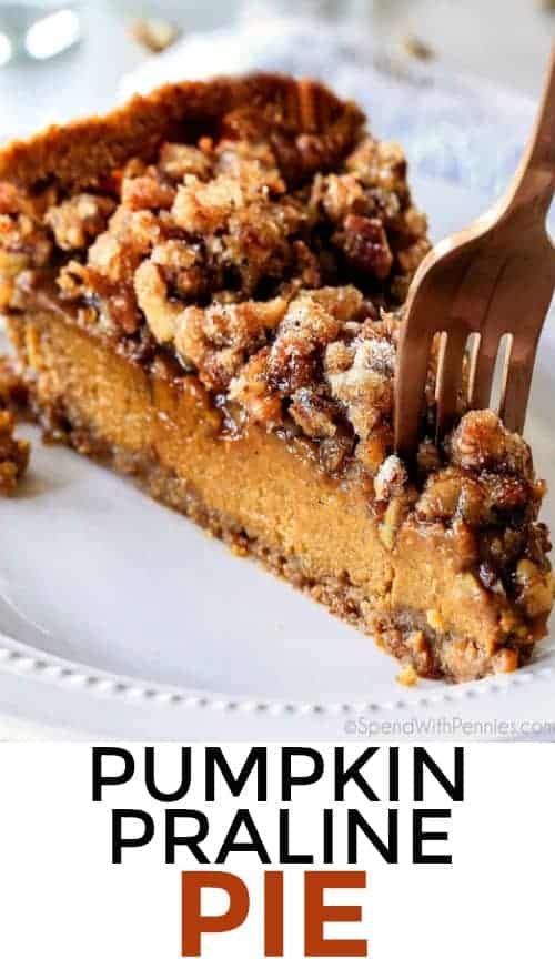 Introducing Praline Pumpkin Pie AKA a new Thanksgiving must! Creamy pumpkin pie topped with crunchy, chewy brown sugar pecans for the perfect flavor and texture combination in every bite! Be the hero of Thanksgiving with this new twist on the comforting classics! #spendwithpennies #pie #pumpkinpie #pralinepie #pierecipes #easyrecipe