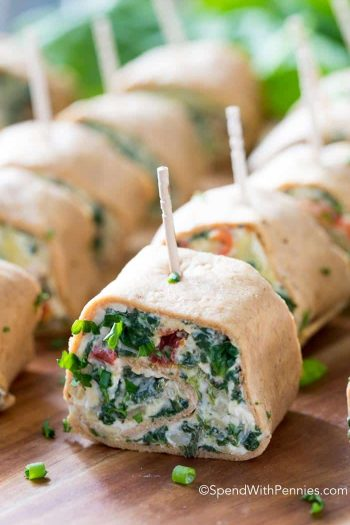 Spinach Artichoke Pinwheels with green onion