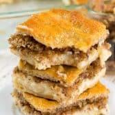 stack of baklava cheesecake bars