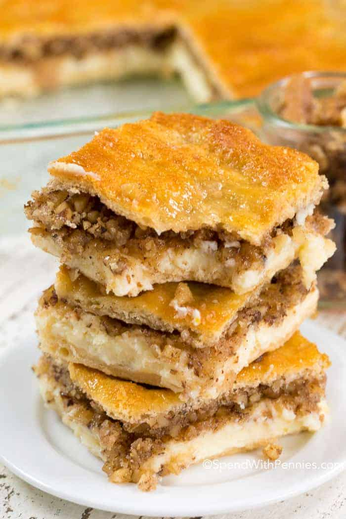 Baklava Cheesecake slices on white plate