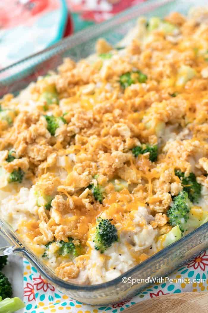 A turkey broccoli rice casserole topped with cheese and breadcrumbs using leftover turkey.