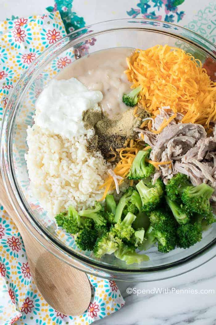 Broccoli Rice Casserole ingredients unmixed