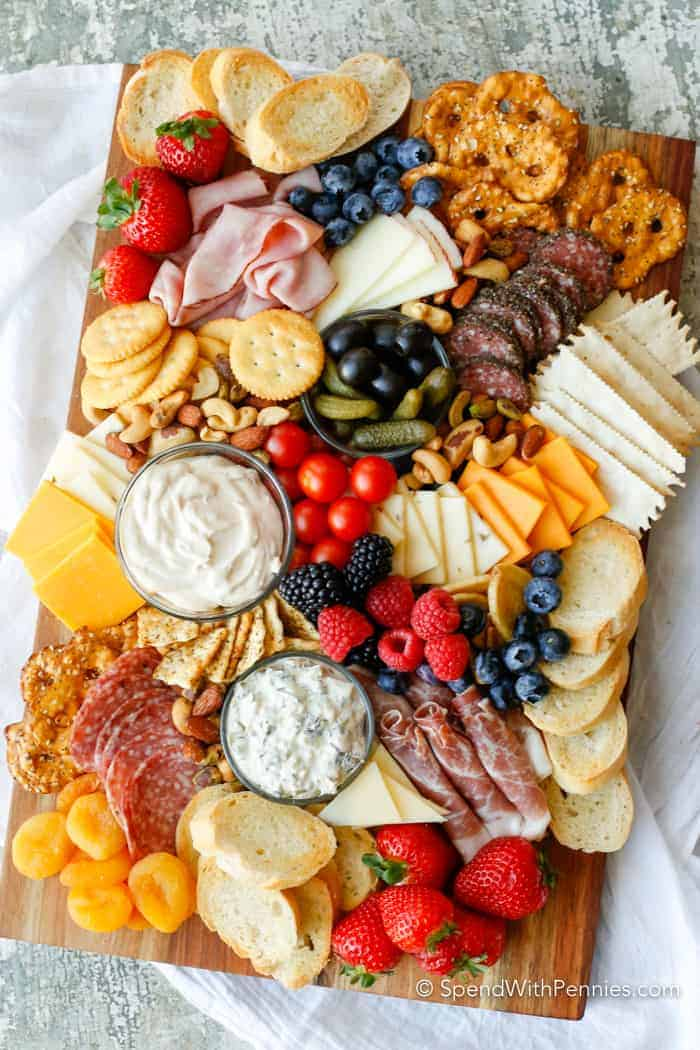 Charcuterie Board with strawberries