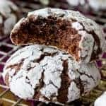 Chocolate Crinkle Cookies stacked