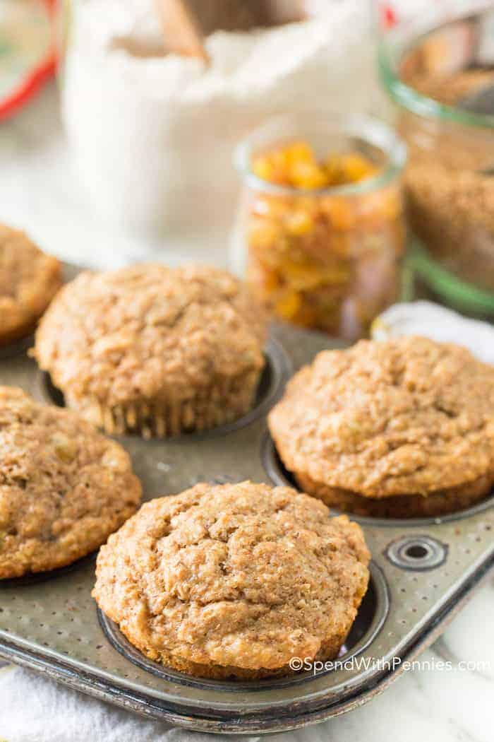 Fluffy Bran Muffins in baking dish no toppings