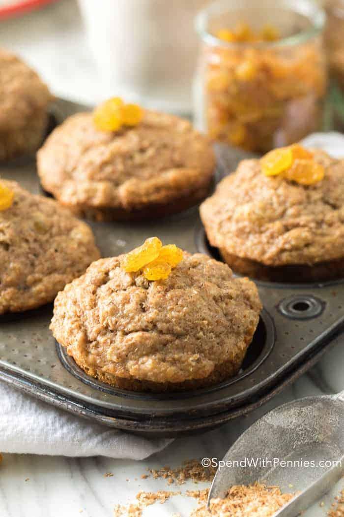 Fluffy Bran Muffins in baking dish with raisins