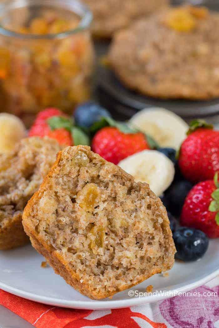 Fluffy Bran Muffins cut in half